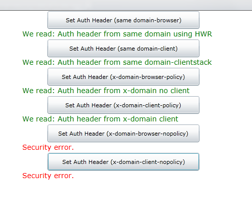 Auth header sample app output