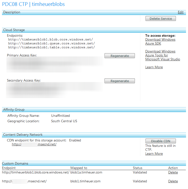 Azure configuration details