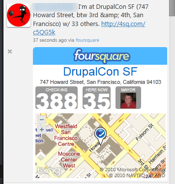 Seesmic Foursquare Plugin
