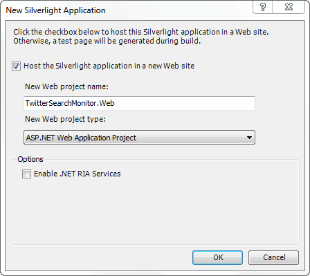 New Silverlight Application Dialog Box