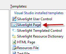 Add Silverlight Page dialog