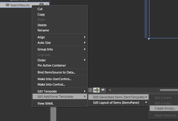 Edit Generated Items menu option