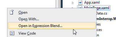 Open in Blend from Visual Studio
