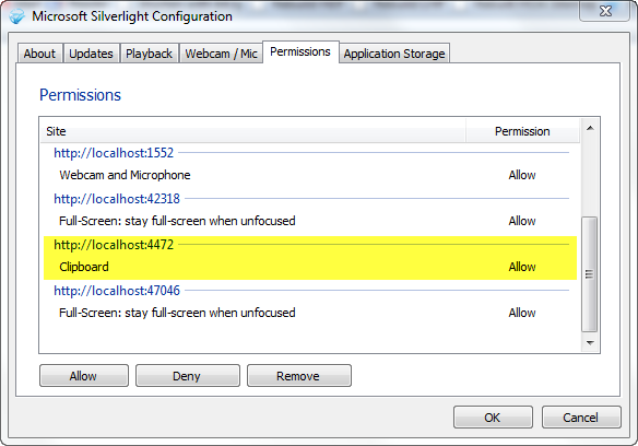 Silverlight permissions dialog
