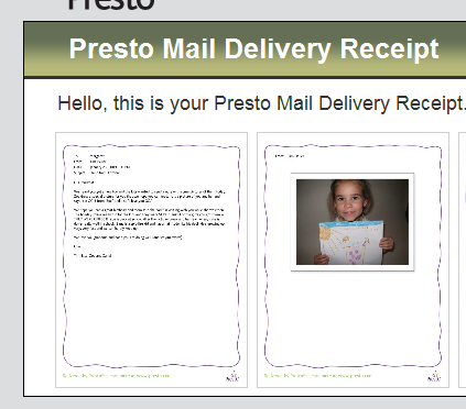 Presto delivery confirmation