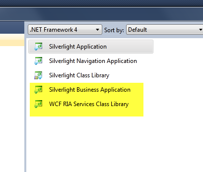 WCF RIA Services Templates in VS2010