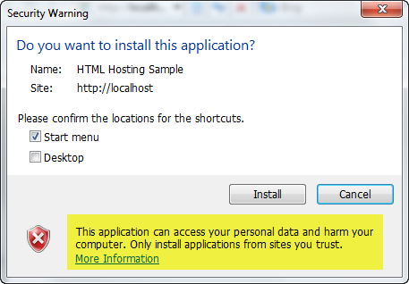 Trusted application install prompt