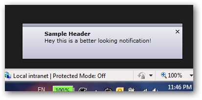 Sample NotificationWindow