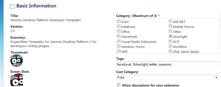 Visual Studio Gallery info page