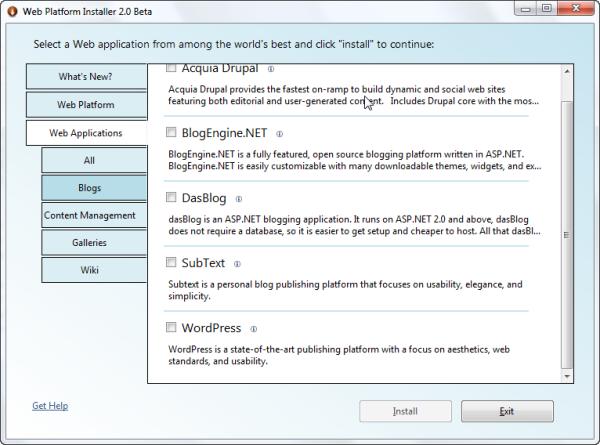 Web Platform Installer Applications