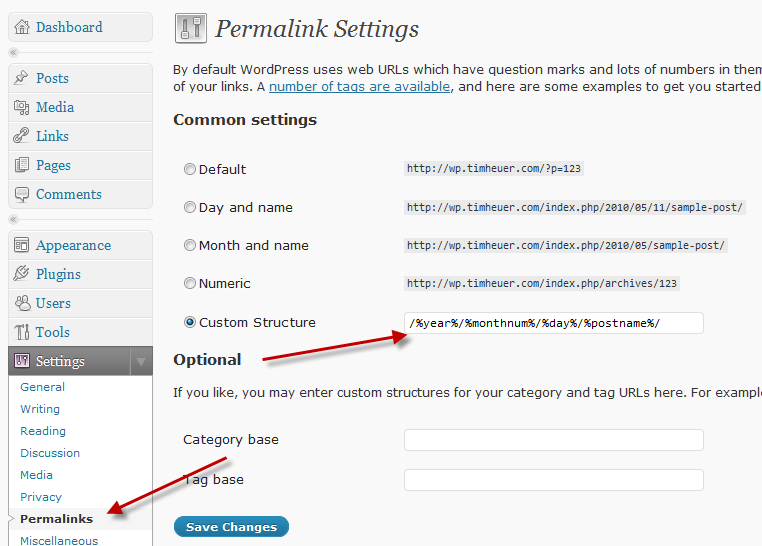 WordPress Permalink Config